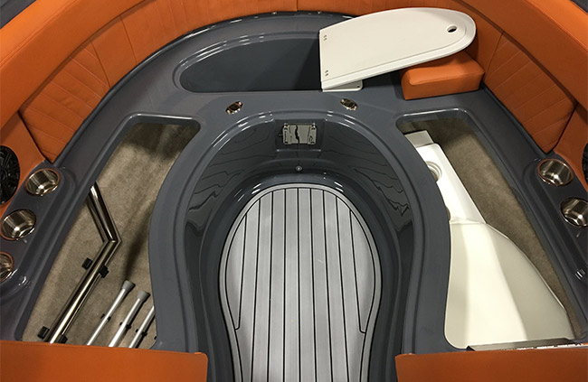 Aft Seat Storage of a Cruisers Yachts 278 South Beach Edition - Bow Rider