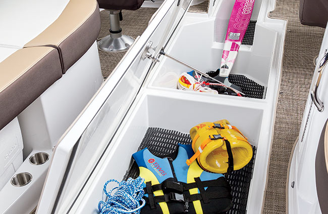 Under-Floor Storage of a Cruisers Yachts 298 Bow Rider