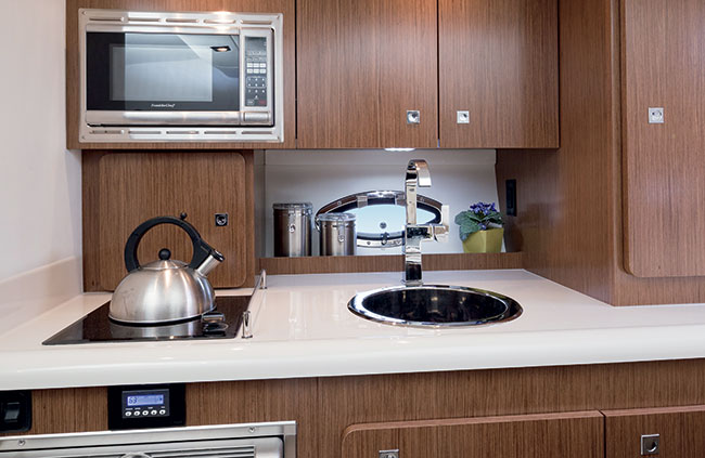 Galley of a Cruisers Yachts 315 Express