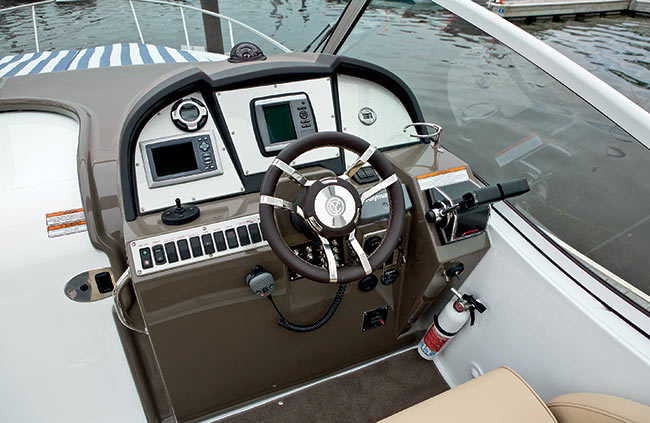 Helm of a Cruisers Yachts 315 Express