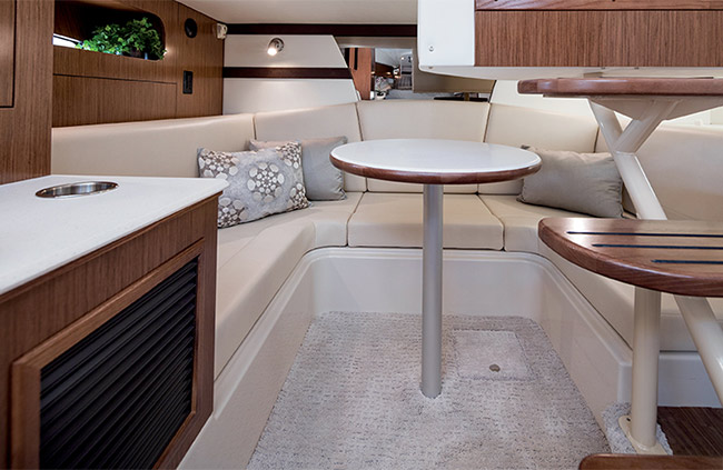 Aft Convertible Settee of a Cruisers Yachts 35 Express