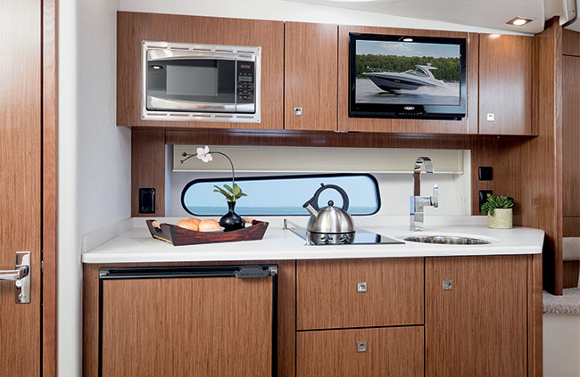 Galley of a Cruisers Yachts 35 Express