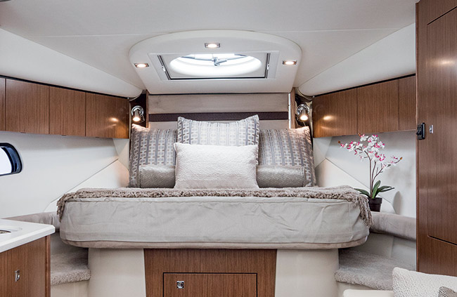 Master Stateroom of a Cruisers Yachts 35 Express