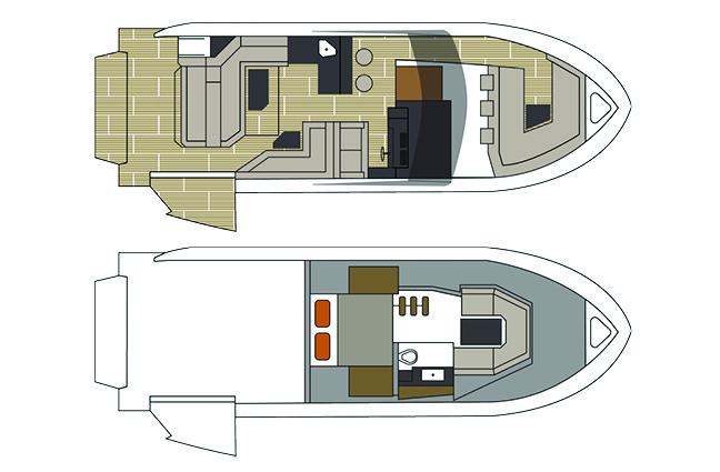 Exterior of a Cruiser Yachts 38 GLS I/O