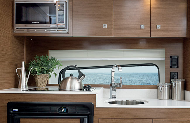 Galley of a Cruisers Yachts 39 Express Coupe
