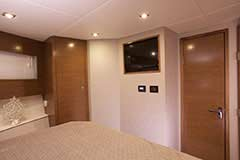 Forward Stateroom Entertainment of a Cruiser Yachts 42 Cantius
