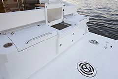 Grill, Fridge, Transom Storage of a Cruiser Yachts 42 Cantius