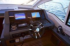 Helm of a Cruiser Yachts 42 Cantius