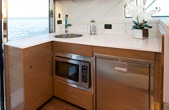 Galley of a Cruiser Yachts 42 Cantius