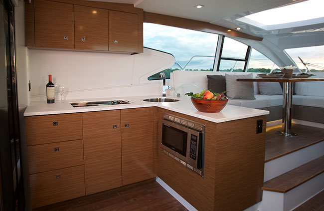 Galley of a Cruiser Yachts 46 Cantius