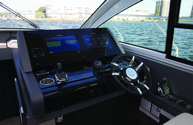 Helm of a Cruiser Yachts 54 Cantius