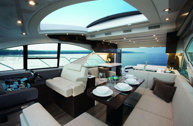 Upper Salon of a Cruiser Yachts 54 Cantius