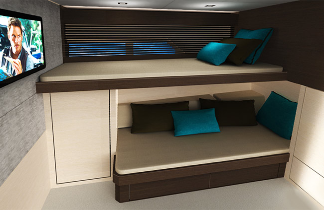 Third Stateroom of a Cruiser Yachts 54 Fly