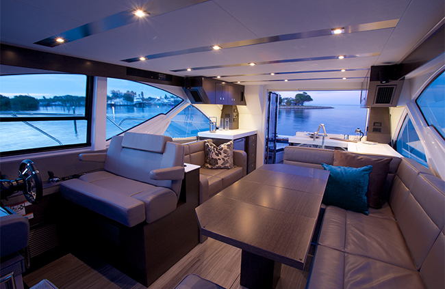 Upper Salon of a Cruiser Yachts 54 Fly