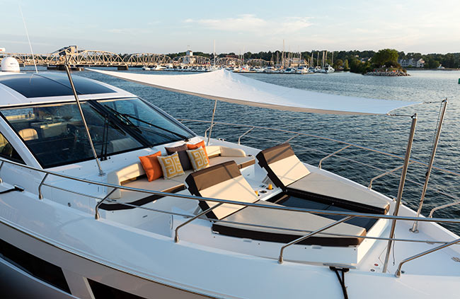 Bow Lounge of a Cruiser Yachts 60 Cantius