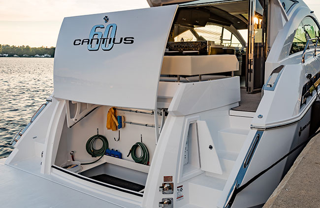 Transom Storage of a Cruiser Yachts 60 Cantius