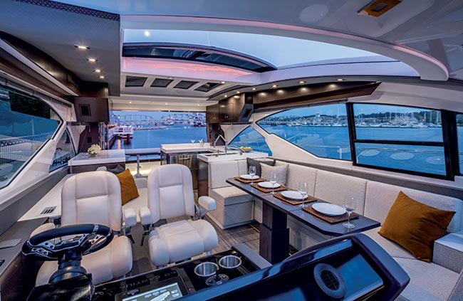 Upper Salon of a Cruiser Yachts 60 Cantius