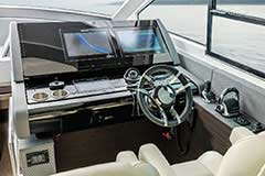 Helm of a Cruiser Yachts 60 Fly